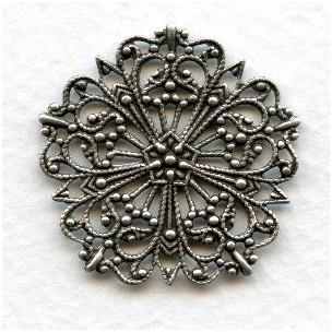 Ornate Round Flat Filigree Oxidized Silver 31mm (3)