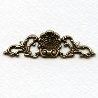 Shell and Flourish Embellishment Oxidized Brass (4)