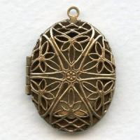Oval Filigree Locket Oxidized Brass 32mm