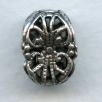 Ornate Square Filigree Beads 13mm Oxidized Silver