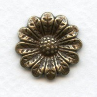 Ornate Flower Embellishments Oxidized Brass 20mm