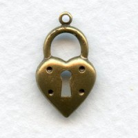 Steampunk Inspired Heart Lock Stampings Oxidized Brass