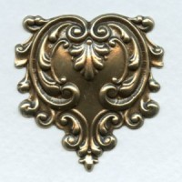 Ornate Heart Shaped Stamping Oxidized Brass (1)