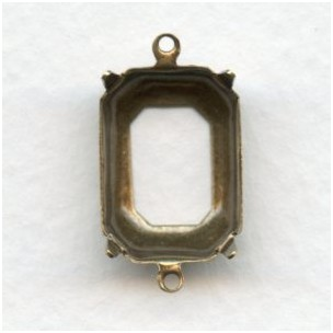 Open Back Octagon Settings 18x13mm Oxidized Brass (12)