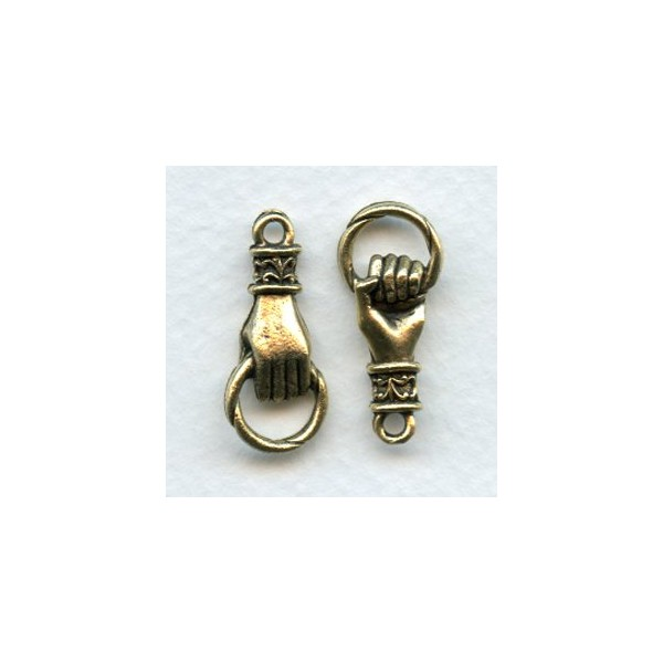 Hand grasping ring connector antique gold