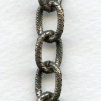 Textured Oval Link Chain Antique Silver 13x10mm (3 ft)