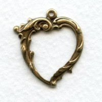 Open Hearts with Loop Oxidized Brass 27mm (6)