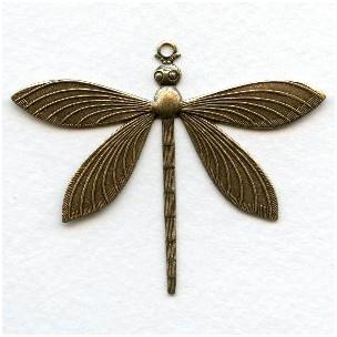 Detailed Large Dragonfly Pendants Oxidized Brass (2)