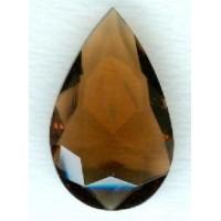 ^Smoked Topaz Glass Pear Unfoiled Jewelry Stone 32x20mm (1)