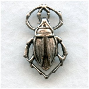 Beetle Connectors Oxidized Silver 17mm (6)