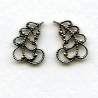 Filigree Leaves 14mm Right and Left Oxidized Silver (6 sets)