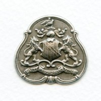 Royal Order Crest Oxidized Silver Stampings (3)