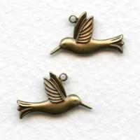 Hummingbird Pendant Charms Oxidized Brass 18x10mm (6 Pairs)