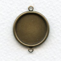 Connector Settings 18mm Oxidized Brass-2 loops (6)