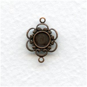 Filigree Connector 5mm Settings Oxidized Copper (12)