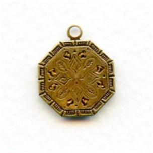Earring Tops or Pendants Oxidized Solid Brass 14mm (6)