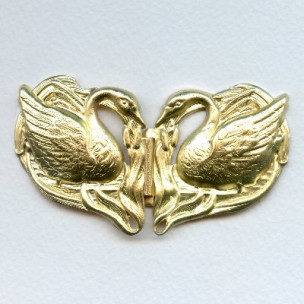 Double Swans Buckle Stampings Raw Brass (1 set)