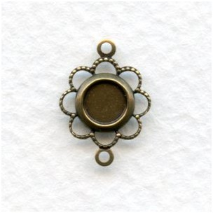 Fancy Filigree 5mm Setting Connector Oxidized Brass (12)