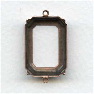 Open Back Octagon Connector Settings 25x18mm Oxidized Copper