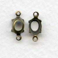 Open Back Setting Connectors Oxidized Brass 8x6mm (12)
