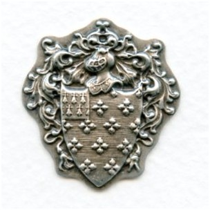 Royal Knight Crest Oxidized Silver Stampings (6)