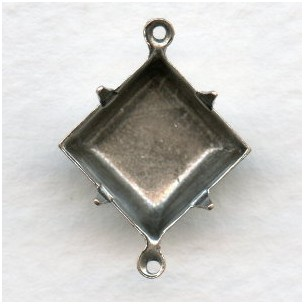 Square Settings Oxidized Silver 12mm 2 Loops
