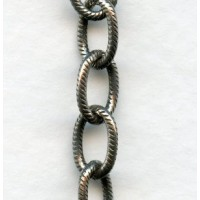 Cable Chain 9x6mm Oval Links Textured Antique Silver (3 ft)