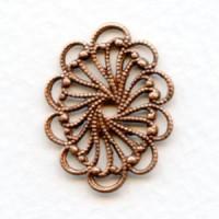 Flat Oval Filigree Oxidized Copper 26mm (6)