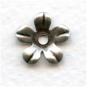 Smooth 5 Petal Flowers Oxidized Silver 13mm (12)
