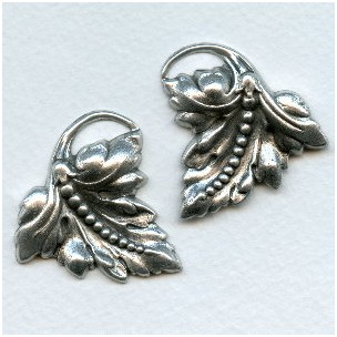 Bead Detail Leaves Oxidized Silver 37mm (1 set)