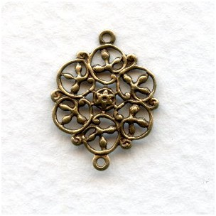 Flat Filigree Circles Connectors Oxidized Brass (12)