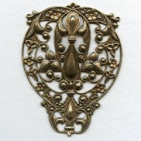Ginormous Filigree Stamping 73mm Oxidized Brass