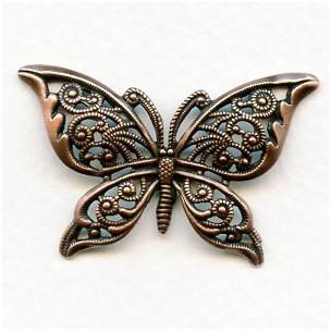 Detailed Filigree Butterfly European Oxidized Copper (1)