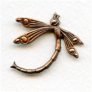 Art Deco Inspired Dragonfly Oxidized Copper 30mm (3)