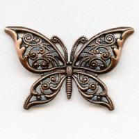 Ornate Filigree Butterfly Oxidized Copper 65mm (1)