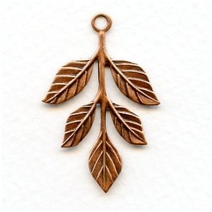 Leaf Spray with Loop Oxidized Copper 36mm (6)