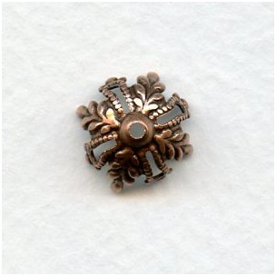 Floral and Filigree 12mm Bead Caps Oxidized Copper (12)