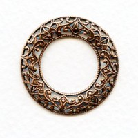 Filigree Domed Open Circles Oxidized Copper 28mm (3)