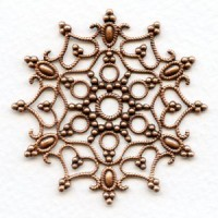Snowflake Shaped Stamping Oxidized Copper 48mm