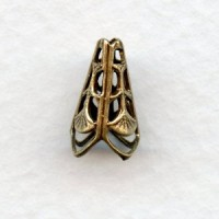 Filigree Cone Shape Bead Cap or Spacer Oxidized Brass (6)