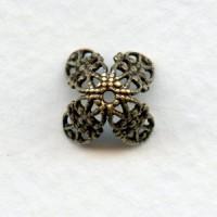 Fancy Filigree Bead Caps Oxidized Brass 7mm (12)