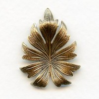 Beautiful Leaf Stampings Oxidized Brass 31mm (3)