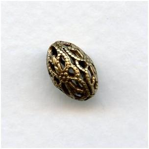 Filigree Oval 12mm Beads Oxidized Brass (12)