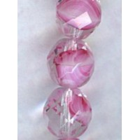 ^Rose Pink, White and Crystal Round Faceted Beads 8MM (24)