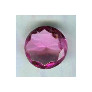 ^Rose Pink Glass Round 18mm Unfoiled Jewelry Stone