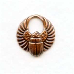 ^Tiny Winged Scarabs Oxidized Copper 13mm (12)