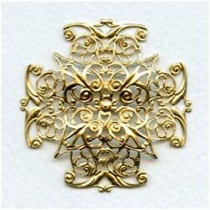 Ornate Filigree 47mm Cross Shape Raw Brass (1)