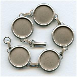 Bracelet Finding Oxidized Silver 18mm Settings
