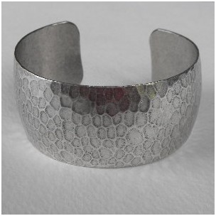 Hammered Oxidized Silver Domed Cuff 29mm
