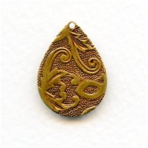 Floral Embossed Pear Shape Pendants Oxidized Brass